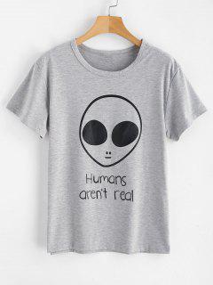Camiseta Estampada Con Letras Extraterrestres De Manga Corta - Nube Gris S