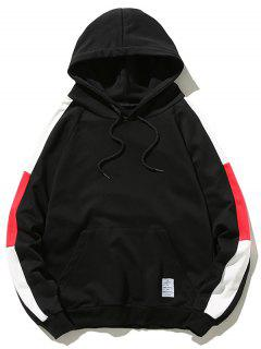 Pouch Pocket Contrast Color Drawstring Hoodie - Black S