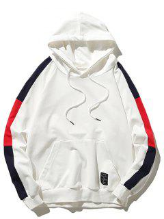 Pouch Pocket Contrast Color Drawstring Hoodie - White M