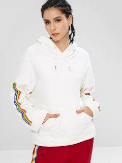 ZAFUL Velvet Pocket Rainbow Trim Hoodie - Blanco S
