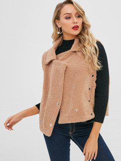 Button Embellished Fluffy Waistcoat - Tan S