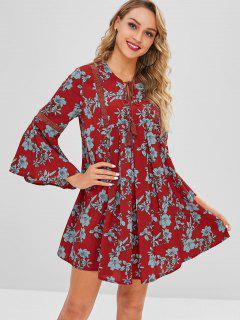 Crochet Panel Floral Smock Dress - Red Wine M