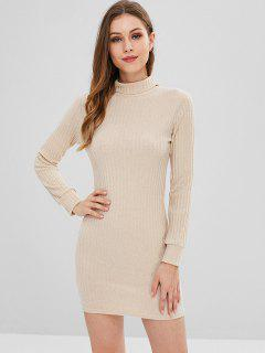 Turtleneck Long Sleeve Bodycon Sweater Dress - Blanched Almond M