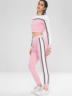 Striped Patched Crop Tee And Pants Set - Pink S