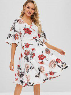 V Neck Floral Wrap Dress - White S