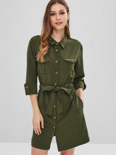 Self Tie Button Up Shirt Dress - Army Green S