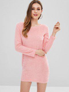 Fluffy Yarn Mini Sweater Dress - Light Pink M