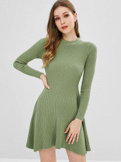 Solid Color A Line Knitted Dress - Green