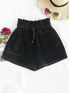 High Waisted Velvet Pockets Shorts - Black