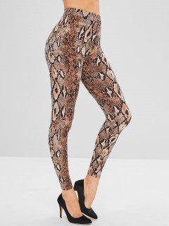 High Waist Snakeskin Print Leggings - Multi Xl