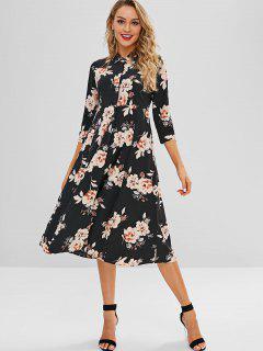 Midi Floral Shirt Dress - Black S