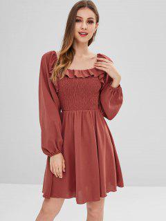 Ruffles Shirred A Line Dress - Cherry Red L