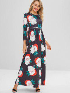 Vestido Maxi Impreso De Navidad - Multicolor S