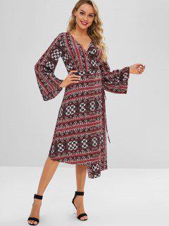 Vestido Con Lazo Estampado - Multicolor M