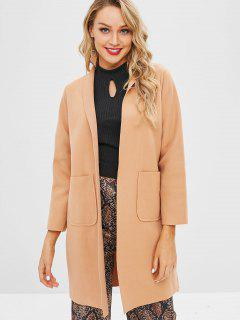 Manteau Long En Couleur Unie En Daim - Cassonade