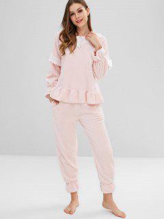 Laced Bowknot Fleece Pajama Set - Pink L