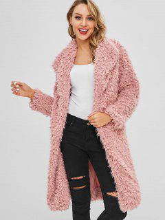Manteau D'Hiver Ouvert En Avant Avec Fausse Fourrure - Rose Léger  S