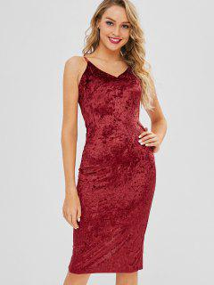 Crushed Velvet Cami Midi Pencil Dress - Red Wine L