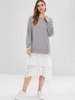 Fasle Two Piece Pleated Dress - Gray M