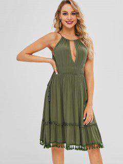 Vestido De Las Borlas Del Recorte - Verde Marrón Claro S