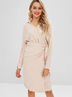 Belted Asymmetrical Dress - Beige S