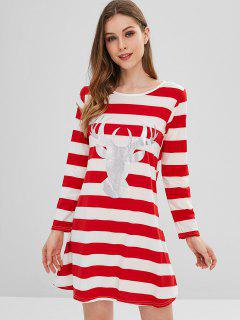 Striped Elk Print Tunic Chistmas Dress - Red M