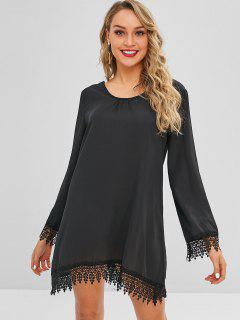 Scoop Neck Lace Trim Mini Tunic Dress - Black M
