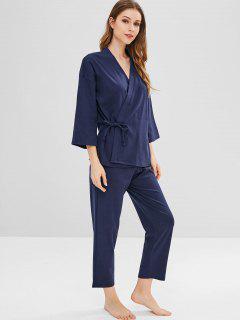 Pyjama-Set Mit Krawatte Aus Baumwolle - Dunkles Schieferblau