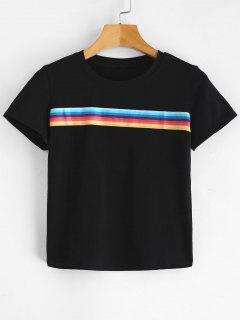 Camiseta Corta De Rayas Gráfica Frontal - Negro M