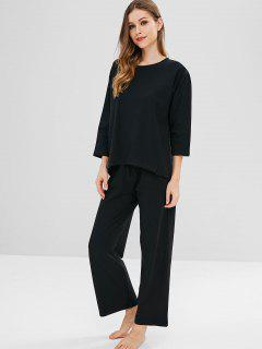 Slit Pajama Set - Black L