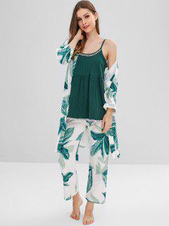 Leaf Print Belt Pajama Set - Multi Xl
