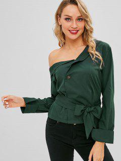 Skew Neck Belted Blouse - Dark Green L