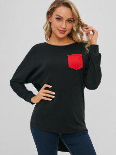 Long Sleeve Patch Pocket Long Oversized Tee - Black S
