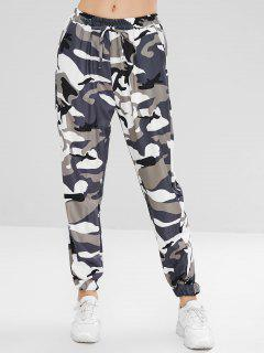 High Waisted Camouflage Jogger Pants - Woodland Camouflage L