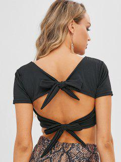 Double Lined Tie Back V Neck Crop Top - Black M