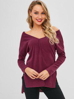 V Neck Long Sleeve Soft Touch Tunic Tee - Maroon S