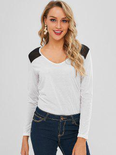 Contrast Yoke Ruched Long Sleeve Tee - White L
