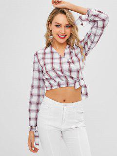 Plaid Wrap Crop Blouse - Multi Xl