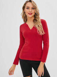 Camiseta De Manga Larga Con Bolsillo En El Parche De Parche - Rojo S