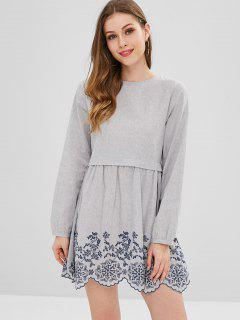 Long Sleeve Embroidered Tunic Mini Dress - Gray Cloud S