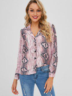 Button Up Lapel Snake Print Shirt - Multi S