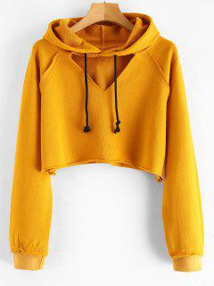 Cut Out Cropped Terry Pullover Hoodie - Mustard M