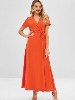Vestido Con Abertura En La Parte Delantera Con Cinturón De Surplice - Naranja S