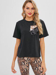 Camiseta De Jersey Con Bolsillos De Parche Con Lentejuelas - Negro L