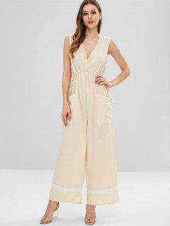 Drawstring Waist Wide Leg Jumpsuit - Blanched Almond S