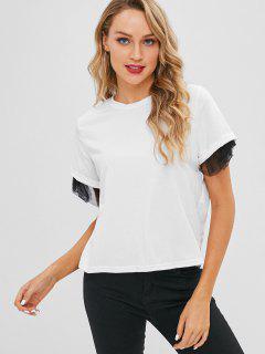 Camiseta De Manga Corta Con Abertura En El Panel Voile - Blanco Xl