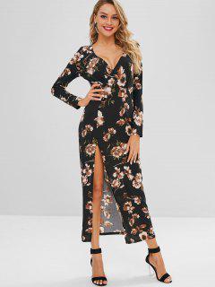 Floral Slit Maxi Dress - Black M