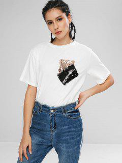 Sequined Patch Pockets Jersey Tee - White L