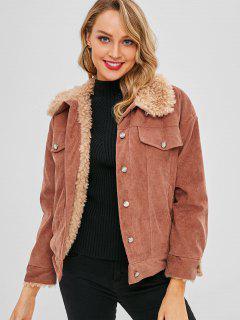 Faux Lambwool Lined Corduroy Jacket - Rust L