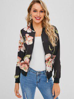 Floral Zip Up Light Bomber Jacket - Black S